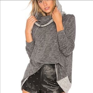 Free People Cocoon Cowl Neck Pullover M/L Grey